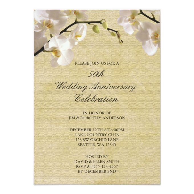 50th Wedding Anniversary Gift Certificate Template : ... Orchid wedding invitations, Secret garden weddings and Response cards
