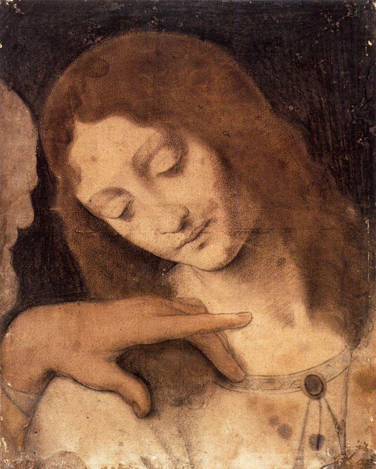 Page: Head of St. John the Evangelist  Artist: Leonardo da Vinci  Place of Creation: Italy  Style: High Renaissance  Genre: religious painting  Technique: chalk  Material: paper  Dimensions: 56.2 x 43.5 cm  Gallery: Musées de Strasbourg, Strasbourg, France