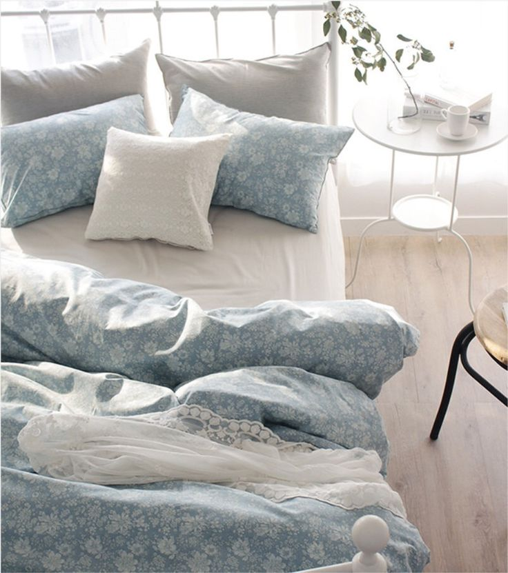 white floral printed blue colored twin queen king size bedding set by on