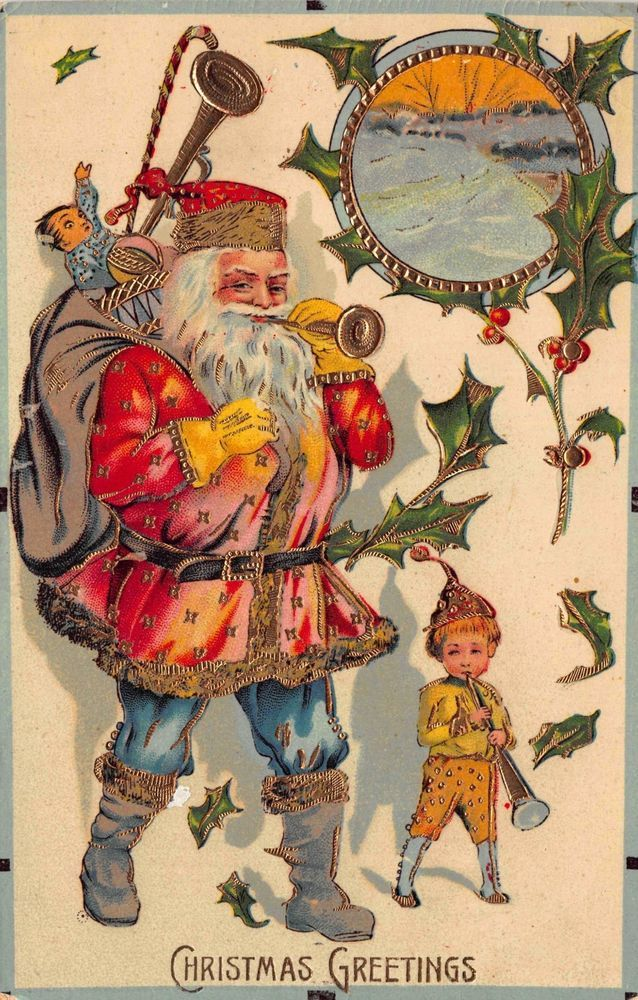 Christmas Postcard Red & Blue Suited Santa Claus Playing Music with Boy~112842 #Christmas
