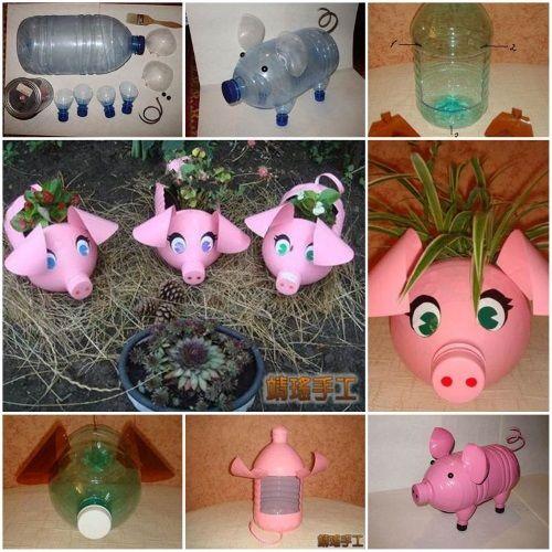 Un divertido macetero reciclado de botellas plásticas que podrás hacer en casa con unas cuantas botellas y logrando una forma de un divertido cerdito