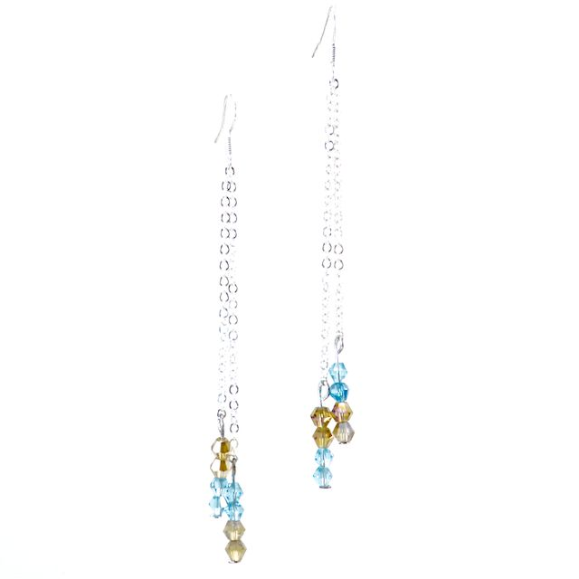 AMBER BLUE  Beautiful Bicone Swarovski Crystals in Light Topaz and Aquamarine tones elegantly hung on a sterling silver rolo chain. These earrings have a beautiful movement and are light as a feather. *Custom Orders Available*  CA $24.95 http://pursuademe.com/shop/?id=68