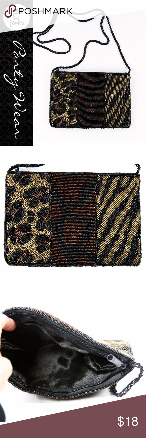 "Beaded Small Leopard Purse A standout for a special occasion! Excellent condition with little to no wear. This purse could go casual or dress. It's small to carry a phone, lipstick, makeup, etc. ● Width 8"", Height 5 1/2"", Strap 24"" (from purse to top). ● Outside made of beads. Inside is satin. ● Bundle 2 or more items for 15% off. Free shipping for orders over $100. Smoke-free home and fast shipper! Bags Mini Bags"