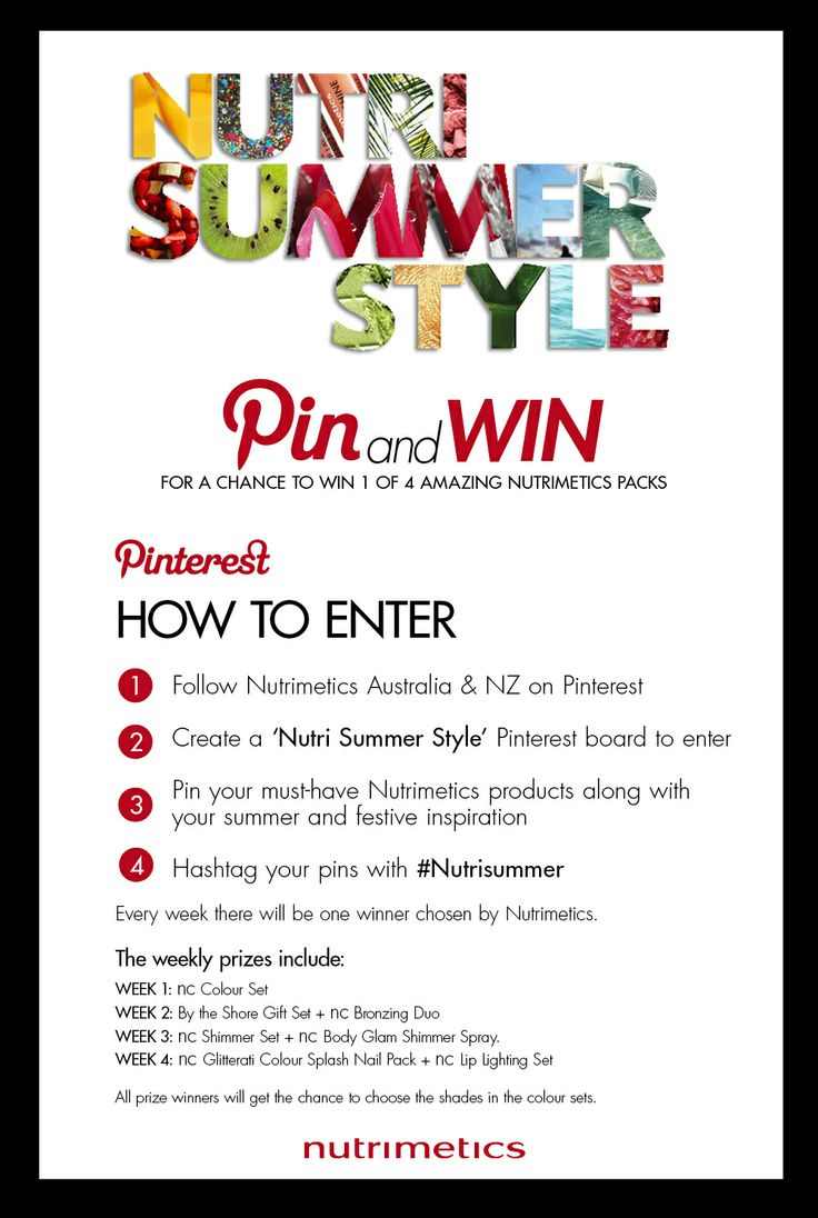 Nutri Summer Style competition is up and running! Pin and Win! Make sure to hashtag your pins #nutrisummer