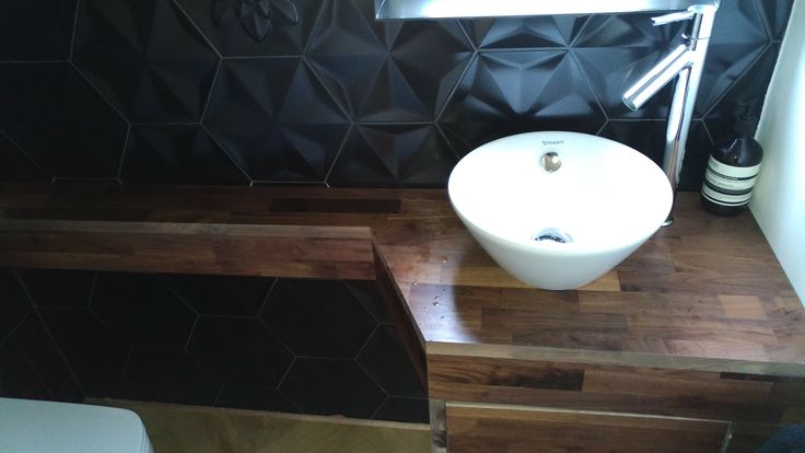 Hexagon tiles and walnut vanity by Sharp Projects