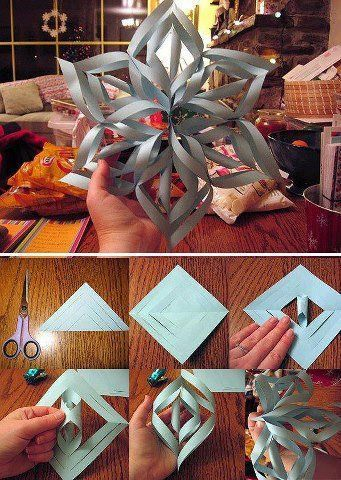 I make these all the time for parties and using white paper to make snowflakes. Just need 8x11 paper cut into squares tape and stapler. So easy