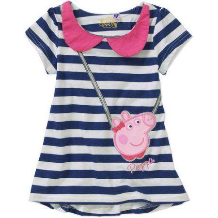 Peppa Pig Toddler Girl Peter Pan Collar Dress, Size: 4 Years, Blue