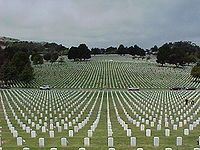 Golden Gate National Cemetery in San Bruno, CA.  There are 146 such cemeteries in the US, and 24 more outside the US.