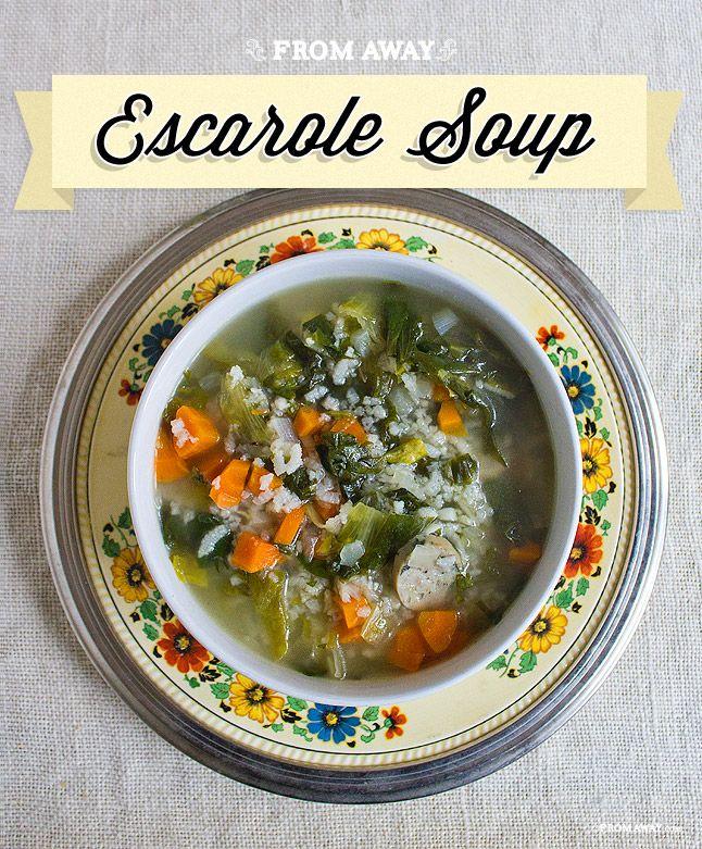 Great Escarole soup!   http://www.fromaway.com/cooking/escarole-soup