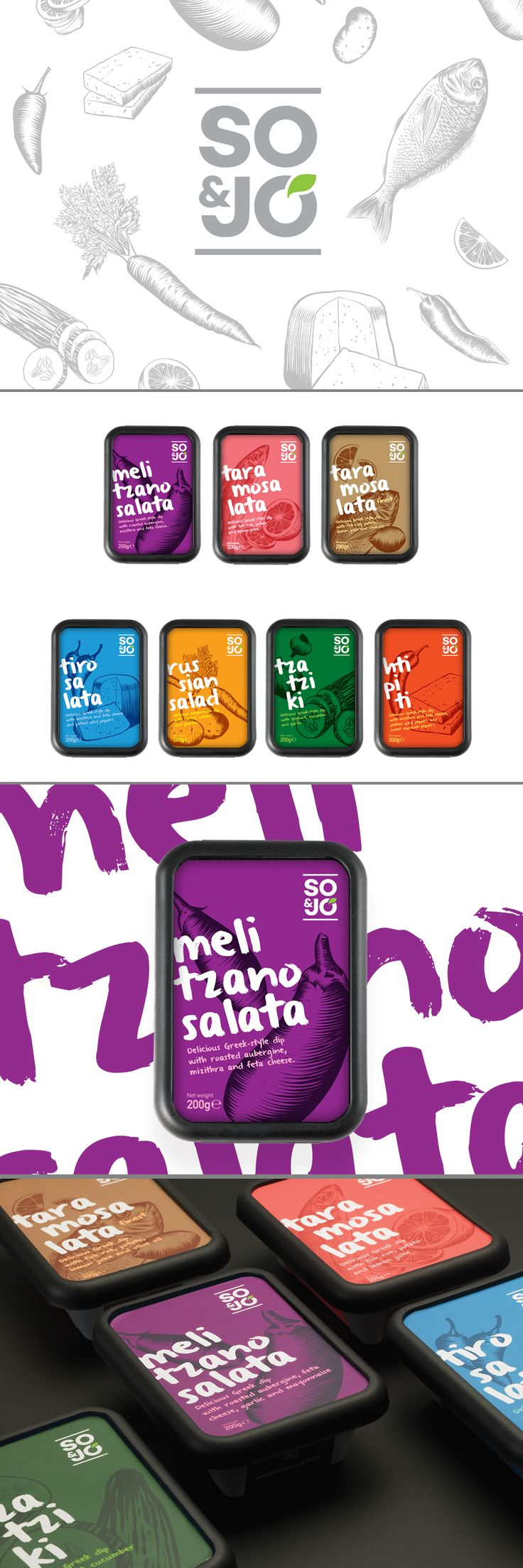 So & Jo, a new line of traditional Greek dips, designed by 2yolk