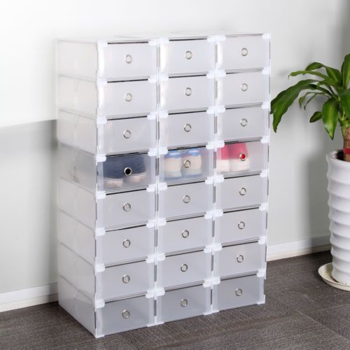 24 Foldable Clear Plastic Shoe Boxes Drawer Stackable Home Storage Box Organiser | eBay