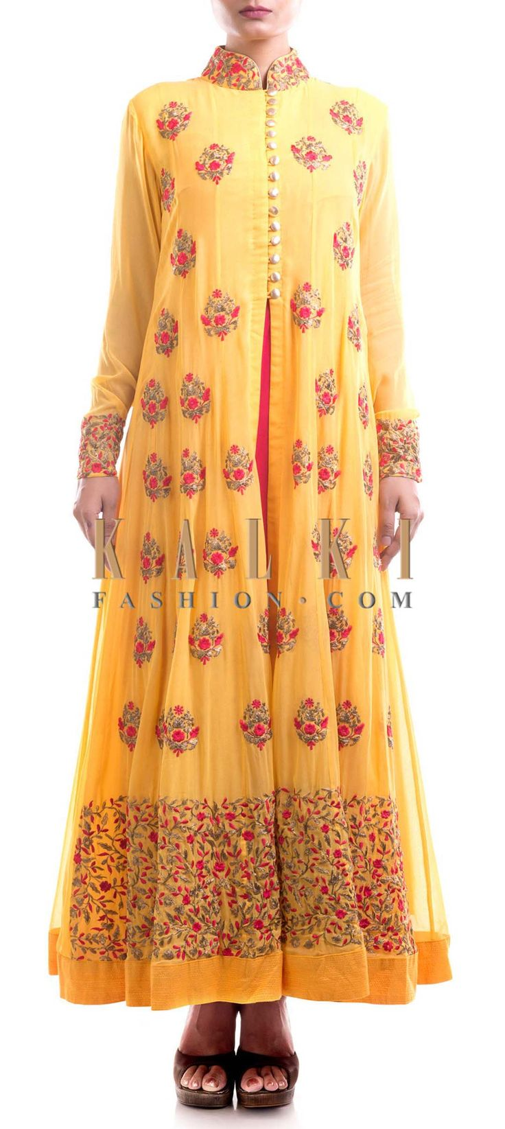 Buy Online from the link below. We ship worldwide (Free Shipping over US$100) Price- $289 Click Anywhere to Tag http://www.kalkifashion.com/yellow-jacket-suit-with-pink-tunic.html