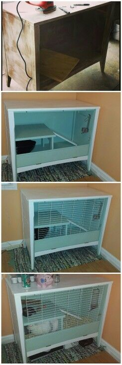 DIY rabbit cage made from an old $10 dresser at a yard sale!