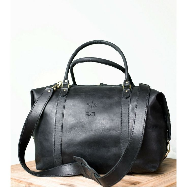 The Black hand-stitched leather Duffle. *available online now! Stylish travel, luxury luggage. -www.swish-swank.com