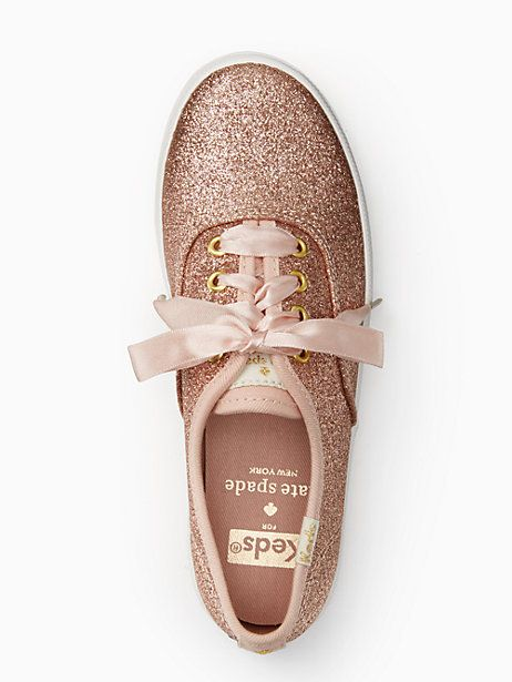 Keds Kids X Kate Spade New York Champion Glitter Youth Sneakers, Rose Gold - Size 5.5