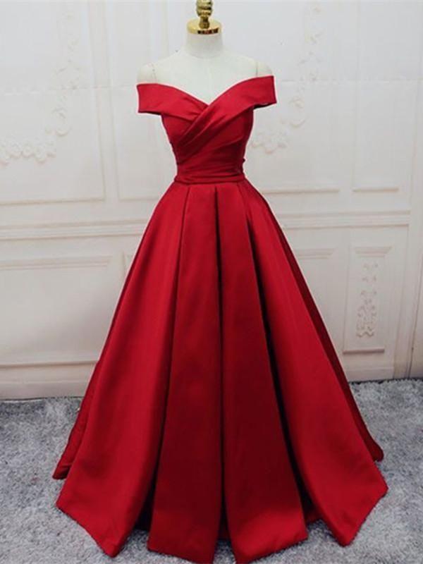 1c6592e2042 Custom Made Red Off Shoulder Floor Length Prom Dress