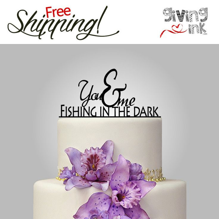 Rustic Fishing Cake Topper You and Me fishing in the by givingINK, $30.00