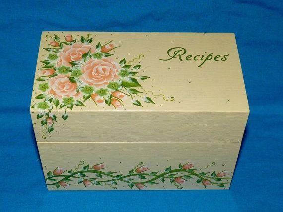 Housewarming Gift Wedding Gift Painted Flowers 4x6 Recipe Storage Box Recipe Box Personalized Custom Large Wood Recipe Card Holder
