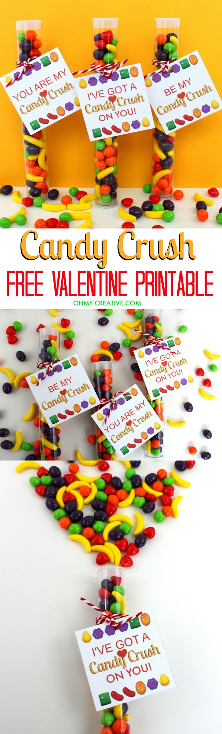 Perfect for your Candy Crush Valentine! A Free Printable Candy Crush Valentine's Day Gift Tag | OHMY-CREATIVE.COM