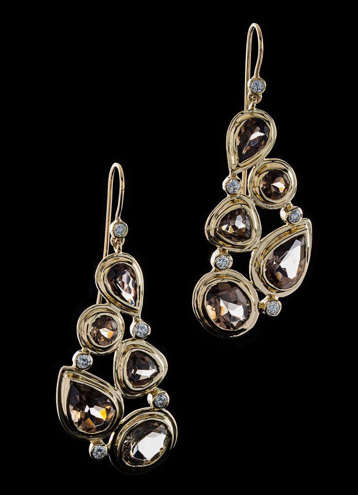 Smokey Topaz & Diamond 18K Gold Earrings