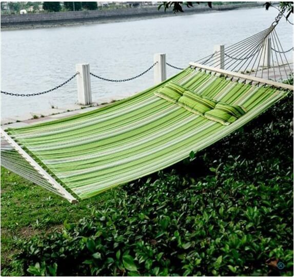 "BEST Double Outdoor Hammock Swing Bed 74"" x 55 With Pillow Home Carden Patio NEW #1"