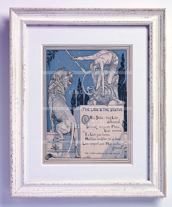 Childrens Print Aesops Fables Story Book The Lion by printgallery