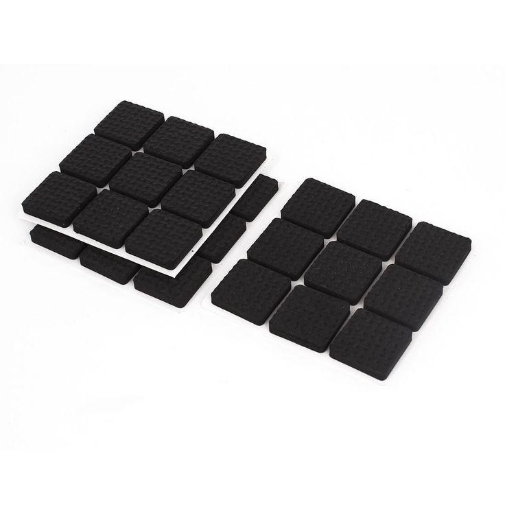 Unique Bargains Furniture Floor Black Square 22mm x 22mm Foam Protection Cushion Pad 27 Pcs