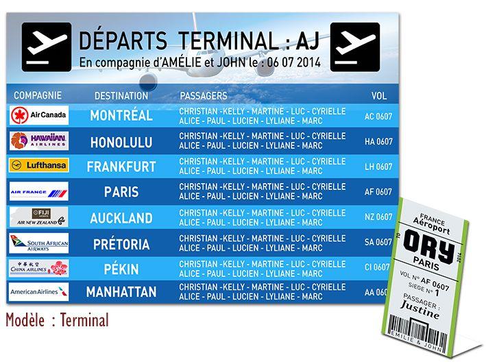 Plan de Table Mariage - Thème Voyage : TERMINAL #plandetable #plantables #mariage #voyage #décoration #croisiere #avion #planisphère #aéroport #noces #visas #globetrotter #passeport #fairepart #savethedate