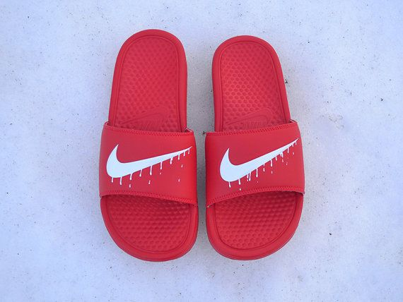 3abe046f3ee37 Custom Painted Nike Benassi JDI Slide Dripping by UnleashedKustoms ...
