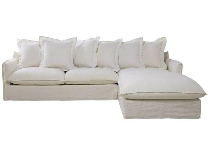 Ausziehbares 6 Sitzer Ecksofa Ecke Rechts Bezug Aus Gewaschenem Leinen Weiss Barcelone Sofa