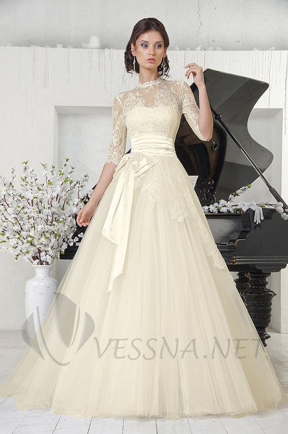 Ivory ALine new lace wedding dress with lace by VessnaWeddingStyle, $460.00