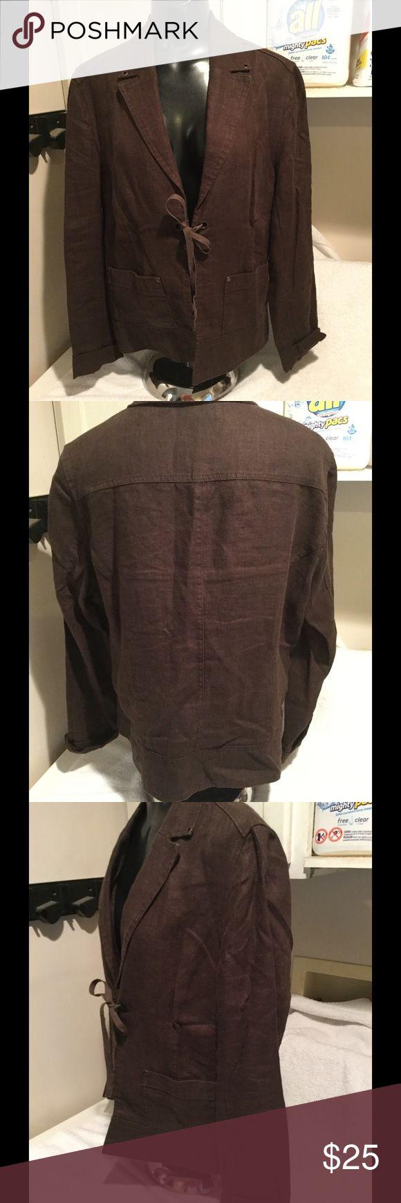 Nwot, brown dressy jacket, blazer. Nwot, gorgeous brown light weight jacket, blazer. Ties in the middle. Very unique classy looking blazer. miss etam Jackets & Coats Blazers