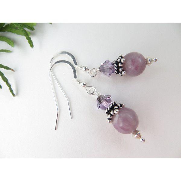 Lilac Stone earrings, Lavender Stone earrings, Swarovski earrings,... (510 UAH) ❤ liked on Polyvore featuring jewelry, earrings, round earrings, gemstone drop earrings, gem earrings, beaded drop earrings and semi precious stone jewellery