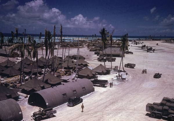 Life at an American base on Tarawa in the Gilbert Islands, 1944. Just like the musical...