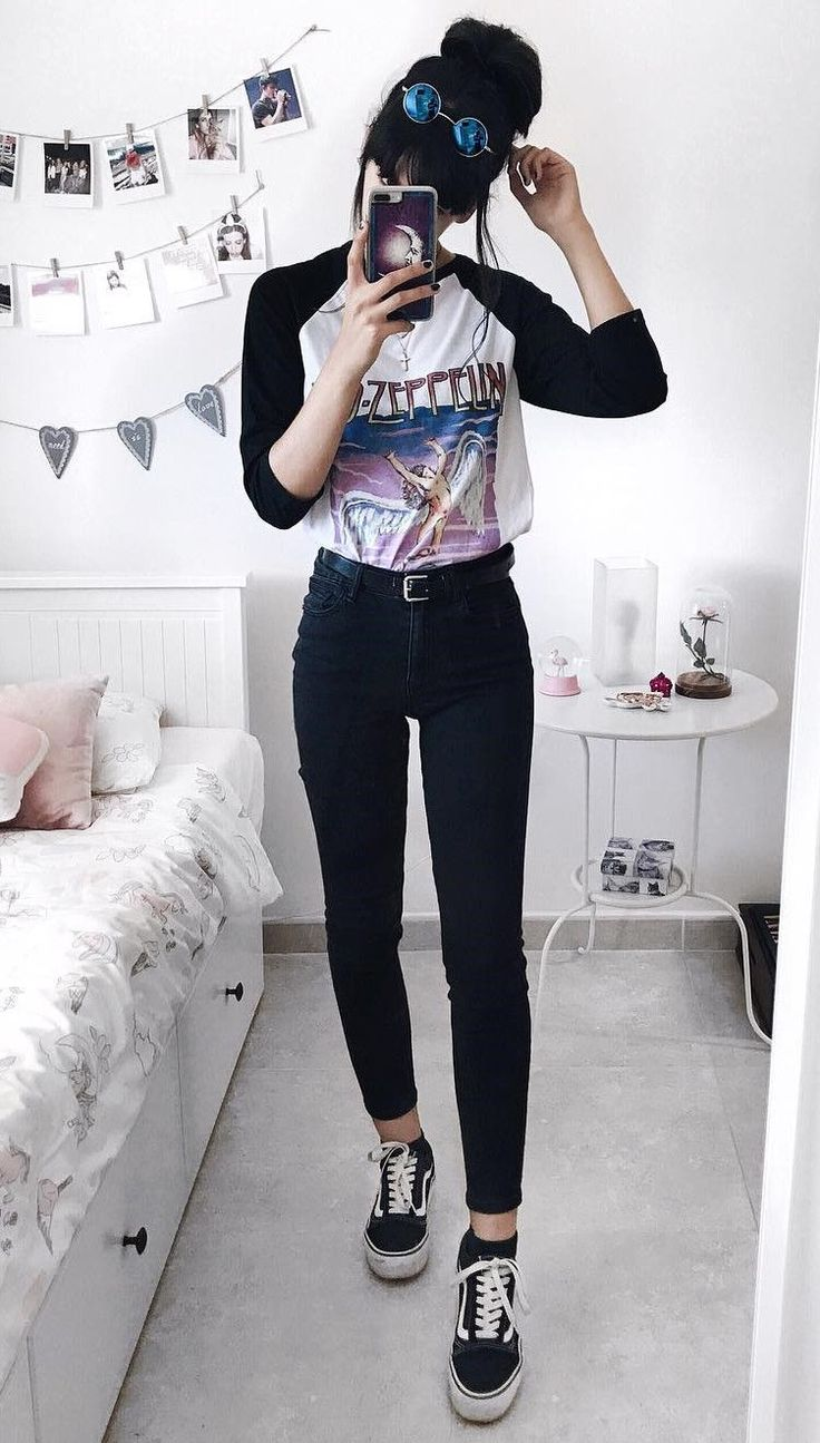 "Sunglasses with ""Led-Zeppelin"" tee, black pants & Vans shoes by deaddsouls"