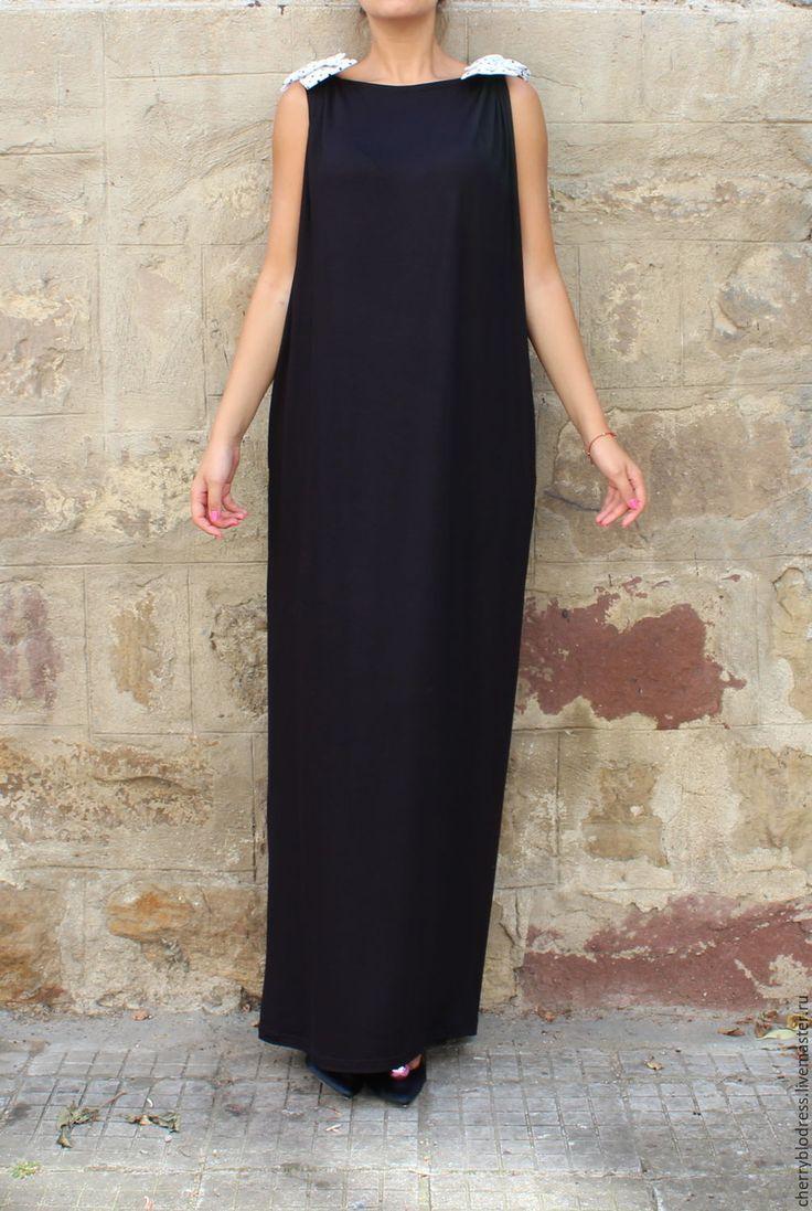 CHERRYBLOSSOMSDRESS Черное длинное макси платье, кафтан, абайя с открытой спиной
