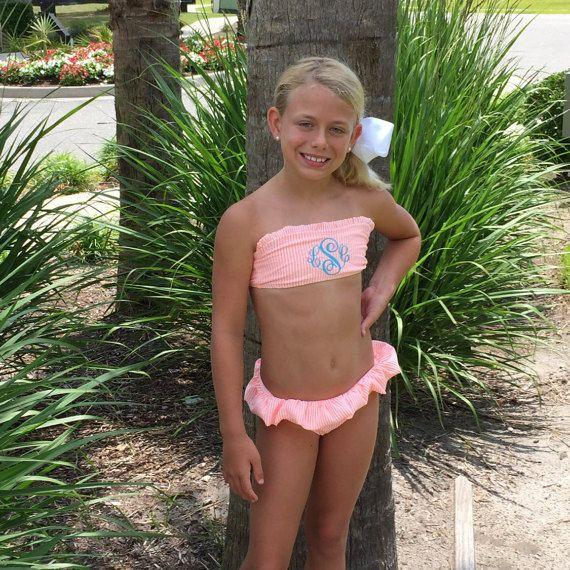 new colors  girls preteen monogrammed personalized seersucker bikini swimsuit bathing suit