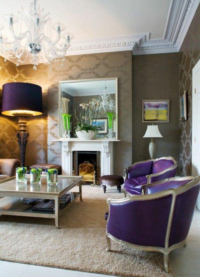 nice Déco Salon - joli salon avec meubles de couleur prune, tapis beige et lustre baroque... Check more at https://listspirit.com/deco-salon-joli-salon-avec-meubles-de-couleur-prune-tapis-beige-et-lustre-baroque/