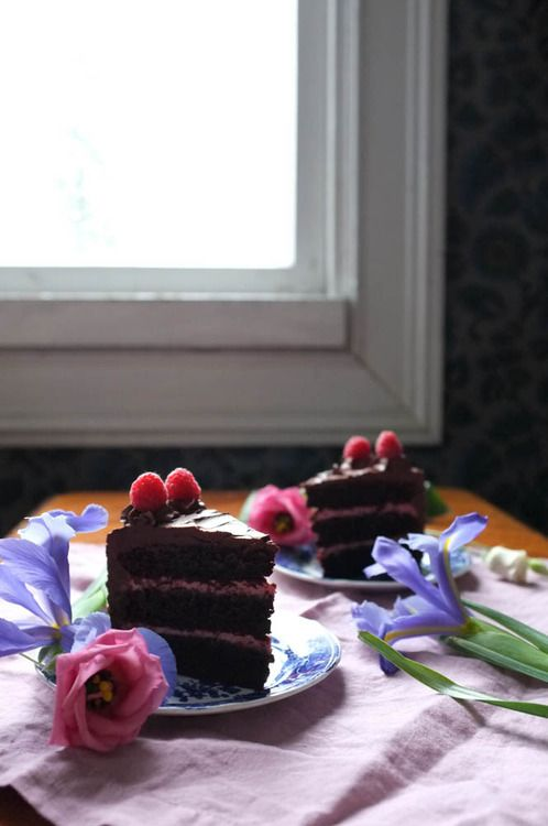 Rich chocolate cake with raspberry filling