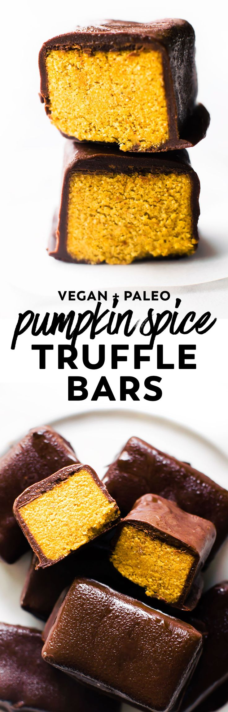 Homemade Pumpkin Spice Truffle Bars with a fluffy date-sweetened filling and decadent chocolate shell. No trick just a healthier halloween treat! #vegan #paleo #pumpkin