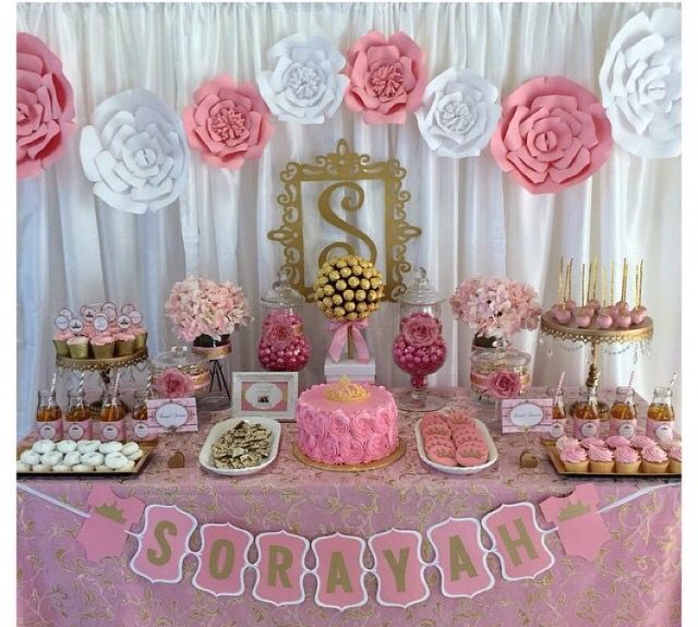 Tema princesa mesas de postres pinterest babies - Pink baby shower table decorations ...