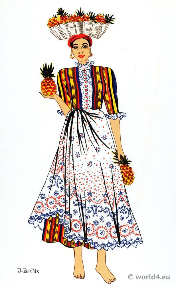 Latin American folk dress Archive - Costume and Fashion History.   Women in Venezuela, as in all other Latin american countries, carry great burdens of fruits or vegetables on their heads.