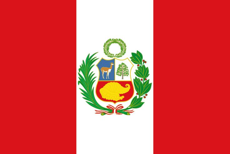 The flag of Peru is a vertical tri-band with red outer bands and a single white middle band. Red represents blood shed for independence. White symbolizes peace and purity.
