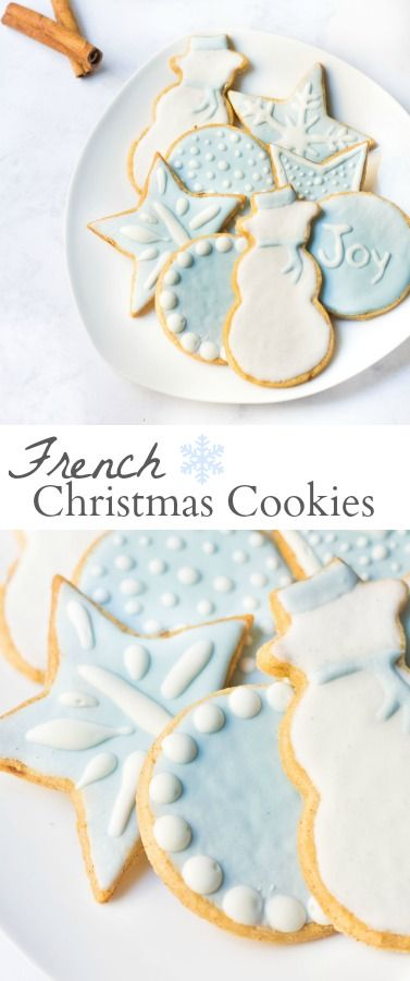 French Christmas Cookies: a cross between sugar cookies and buttery shortbread cookies...iced and decorated in a winter wonderland theme. Recipe via MonPetitFour.com