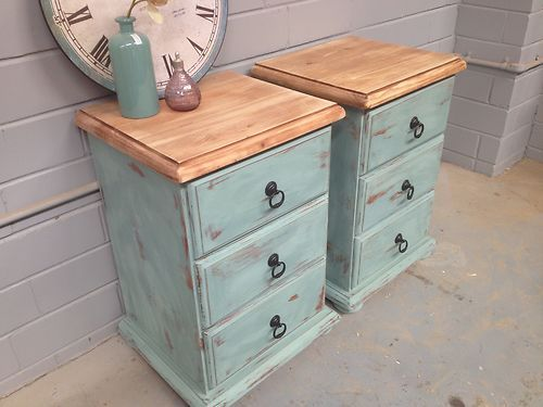 2x Shabby Chic Bedside Tables French Drawers Vintage Rustic Beach Style Ebay Rustic Beach Decorshabby