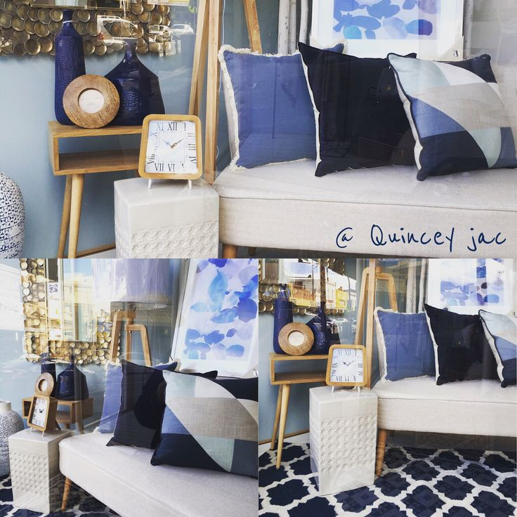 New window #blues #navy #indigo #denim #wood #mirror #art #linen #twoseater #homedecor #quinceyjac