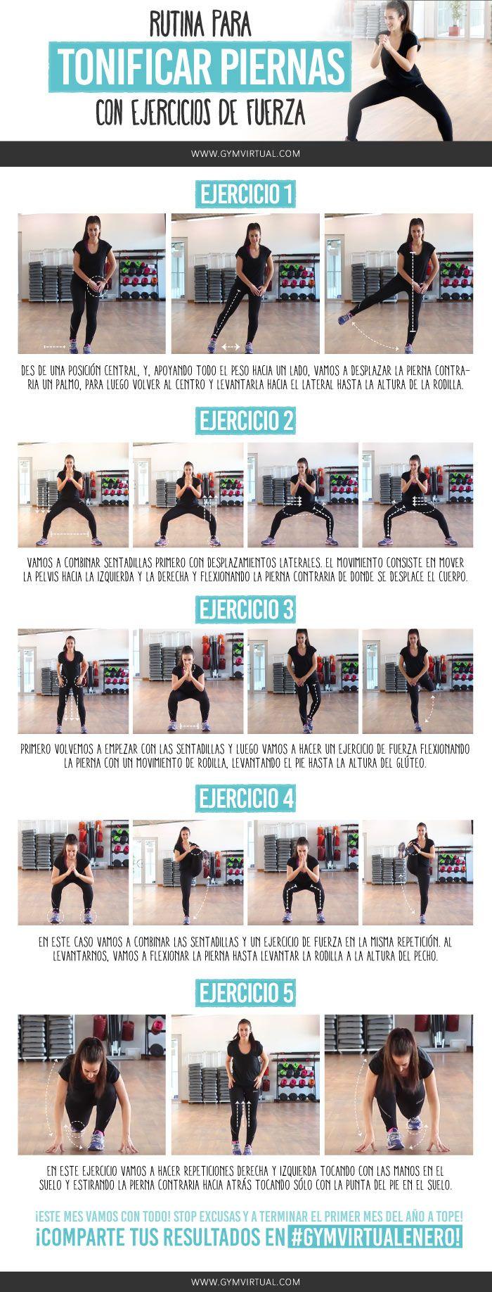 Rutina para tonificar piernas con ejercicios de fuerza 😀 ¿Os animáis con una rutina de fuerza paso a paso? Es ideal para fortalecer las piernas y tonificarlas. Recordad que lo ideal es que la combinéis con otras rutinas, y que después realicéis mínimo 30 minutos de cardio. ¡Mucho ánimo!