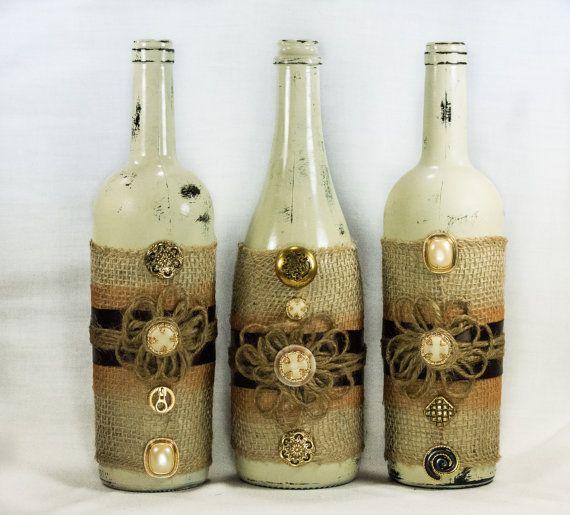 Liquor Bottle Centerpieces: Rustic Wine Bottle Centerpiece. Distressed Paint, Burlap