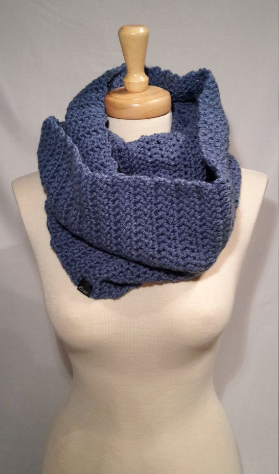 Tino  - Original Handmade Beanies for your every need  - Ski, Snowboard, Casual and Active Outdoors   Denim Infinity Scarf  Chunky Wool 100% Premium Acrylic  Handmade One Size fits all  Unisex