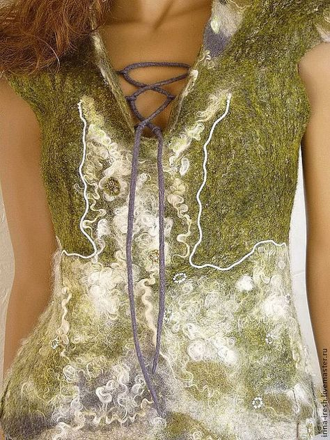 Women's waistcoat Green felted vest Felt clothes by ireshhats